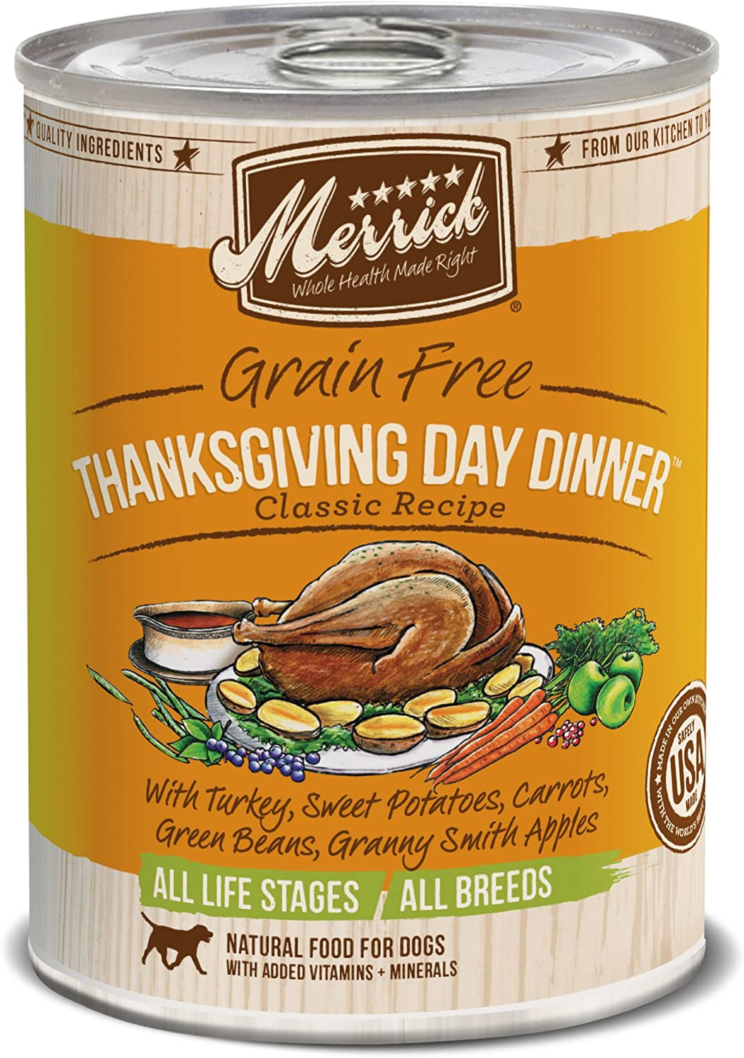 Merrick Classic Grain Free Canned Dog Food, 13,2 Oz, 12 Count Thanksgiving Day Dinner
