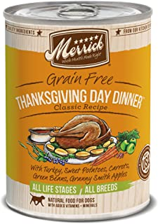 product image for Merrick Classic Grain Free Canned Dog Food, 13,2 Oz, 12 Count Thanksgiving Day Dinner
