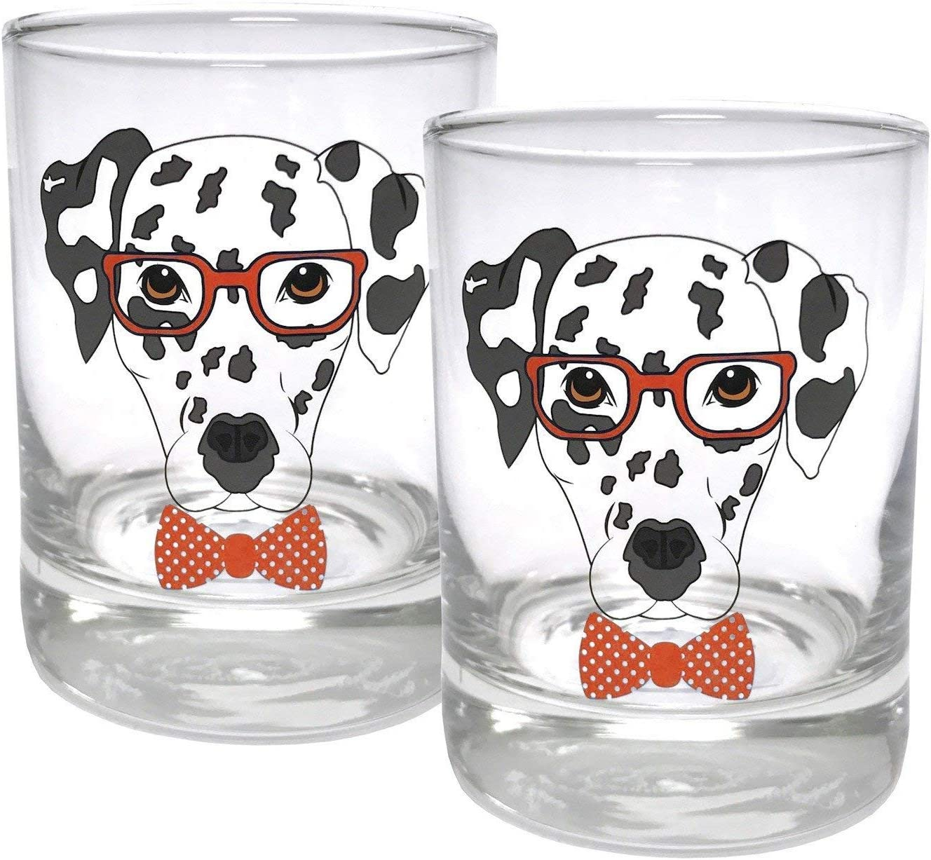 Circleware Dalmatian Dogs Double Old Fashioned Whiskey, Set of 2 Kitchen Drinking Glasses Glassware for Water, Juice, Beer and Best Bar Barrel Liquor Dining Decor Beverage Gifts, 11.25 oz, Red