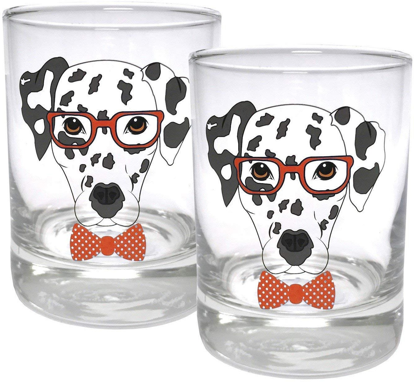 Circleware Dalmatian Dogs Double Old Fashioned Whiskey Glass, Set of 2, Kitchen Drinking Glasses Glassware for Water, Juice, Beer and Best Bar Barrel Liquor Dining Decor Beverage Gifts, 11.25 oz, Red