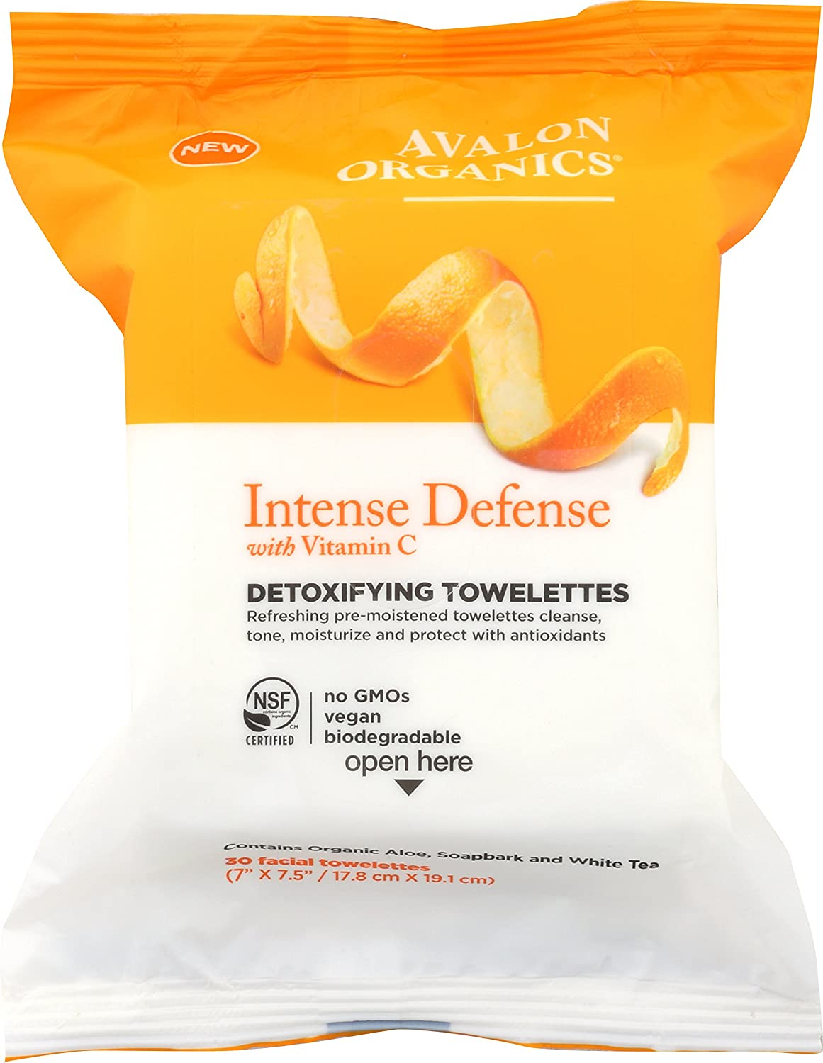 Avalon Organics Intense Defense Vitamin C Detoxifying Towelettes, 30 Facial Towelettes, 1 Count