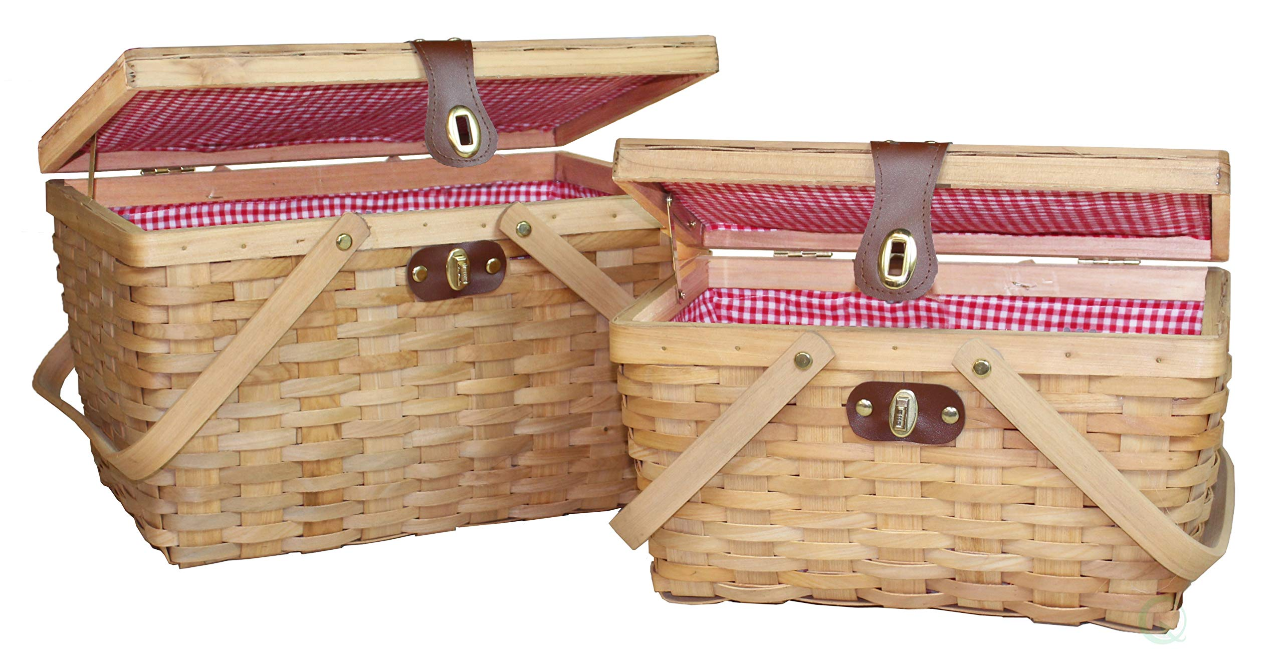 Vintiquewise(TM) Gingham Lined Picnic Baskets Set of 2