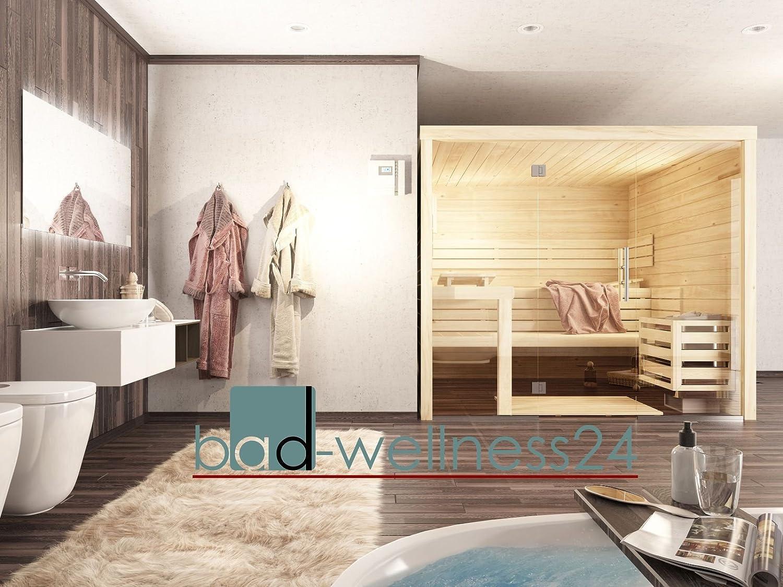 Sauna mit Glasfront 220 x 220 Massivholz 45 mm EOS Bio Saunaofen H2 ...