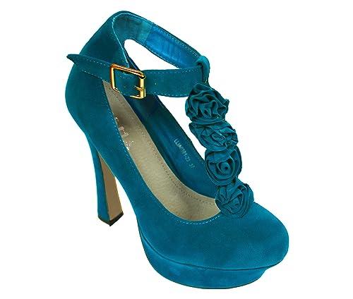 Mujeres Señoras Nupcial Boda Paseo Fiesta Alto Tacón Clásico Zapatillas Zapatos Diseñador,Azul Claro/