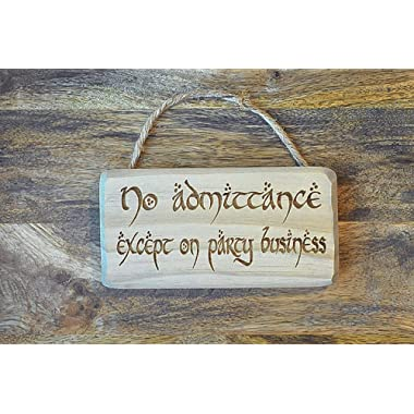 Distraction 7  x 3.5  No Admittance Except on Party Business Sign/Plaque Solid Wood Engraved with Strap