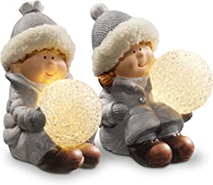 National Tree Set of 2 - 5.5 Inch Boy and Girl Table Décor with Battery Operated White Mini LED Lights (PG11-34016-1)
