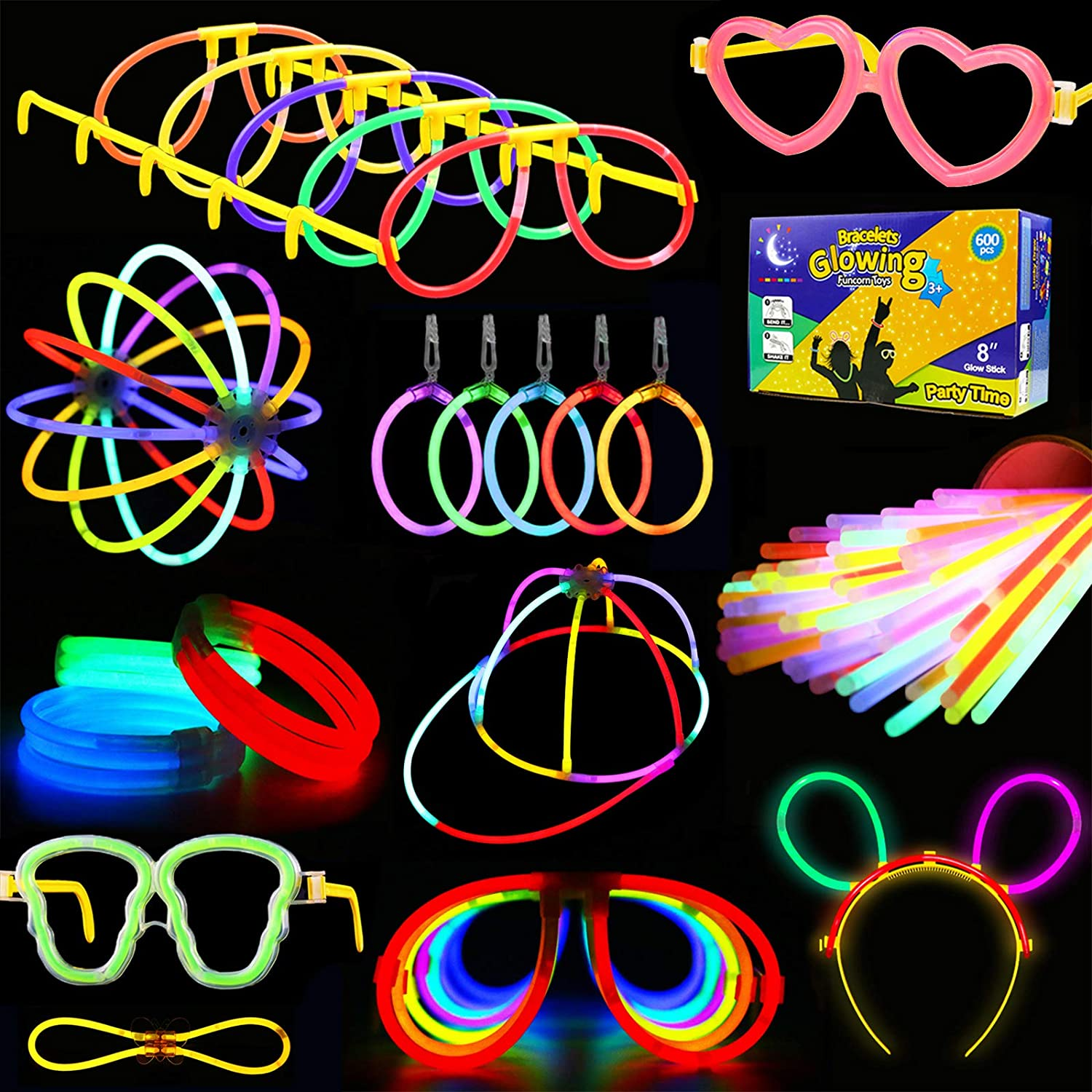 KarberDark Glowstick, (609 Pcs Total) 240 Glow Sticks Bulk 7 Colour and Connectors for Caps Bracelets Necklaces Balls Eyeglasses and More, Light up Toy Glow in The Dark Stick for Kid Party Birthday: Toys & Games