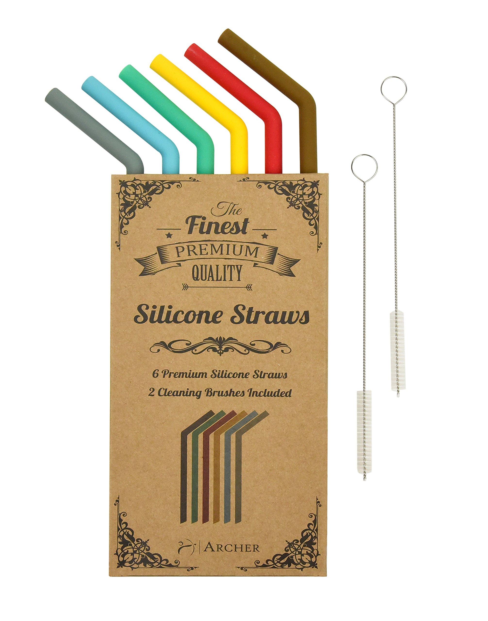 Reusable Straws - Silicone Drinking Straws by Archer - 10 inch Extra Long Flexible Smoothie RTIC Yeti Straws for 30 oz Tumbler - Vintage Colors - 6 x Silicone Straws 2 x Cleaning Brush - BPA Free