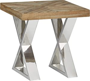 """Amazon Brand – Stone & Beam Hanford Contemporary Side Table, 20""""W, Reclaimed Hardwood and Chrome"""