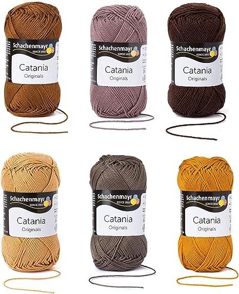 Schachenmayr since 1822 9801210-SET08 Hilo para tejer a mano, 100% algodón, Mezcla Marrón, talla única: Amazon.es: Hogar