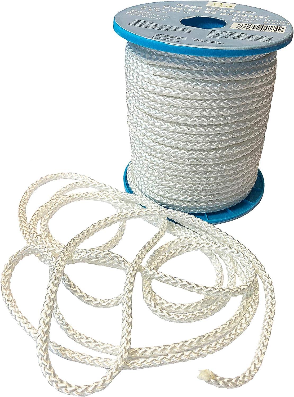 Hochwertiges Seil aus 100/% Polyester Seil wei/ß auf Rolle Allzweckseil Polyesterseil 50 m x 6 mm Leine Flechtleine Bruchlast: 500 kg Strick