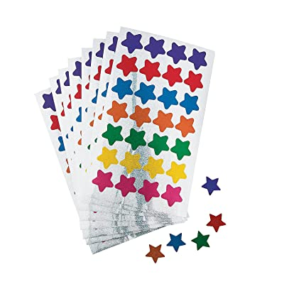 Fun Express Basic Star Stickers - 25 Pieces - Educational and Learning Activities for Kids: Toys & Games