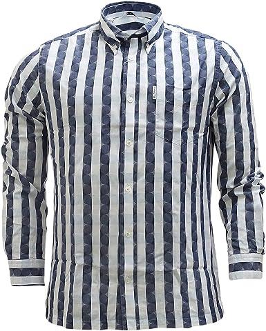 Ben Sherman - Camisa casual - Rayas - Manga larga - para hombre Azul azul marino oscuro L: Amazon.es: Ropa y accesorios