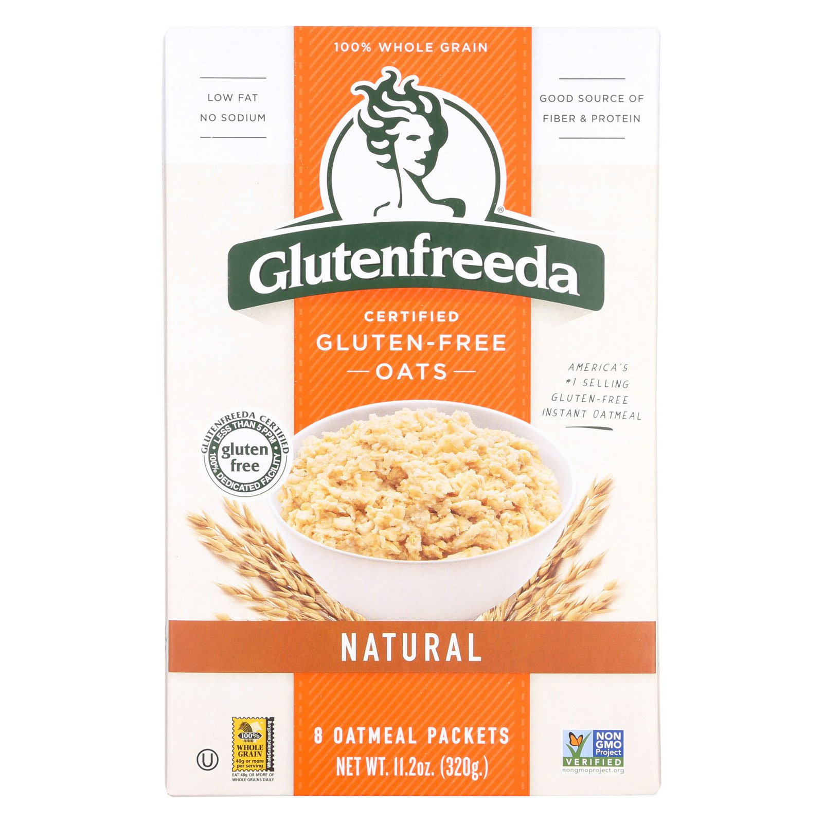 Gluten Freeda Natural Oatmeal - Non GMO - no Sodium - Case of 8 - 11.2 Ounce