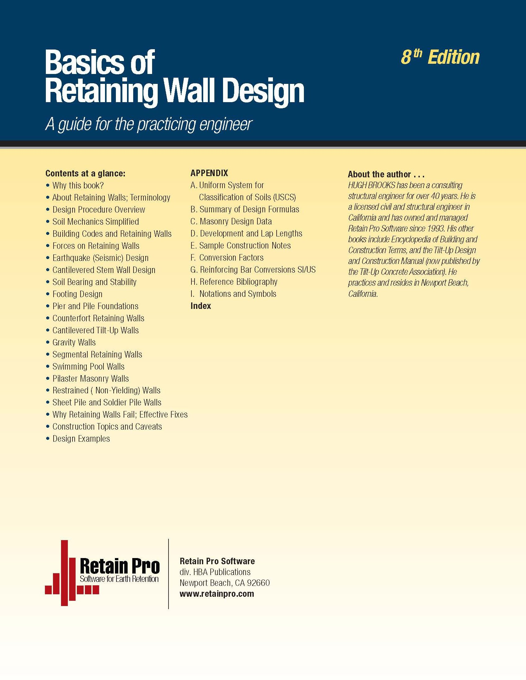 Basics of Retaining Wall Design 8th Edition Hugh Brooks