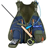 Piscifun Fishing Vest Backpack Adjustable Size Fly Fishing Vest Pack for Tackle and Gear Includes Water Bladder and…