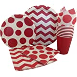 Red & White Chevron Dot Party Supply Pack! Bundle Includes Paper Plates, Napkins, Cups for 8 Guests