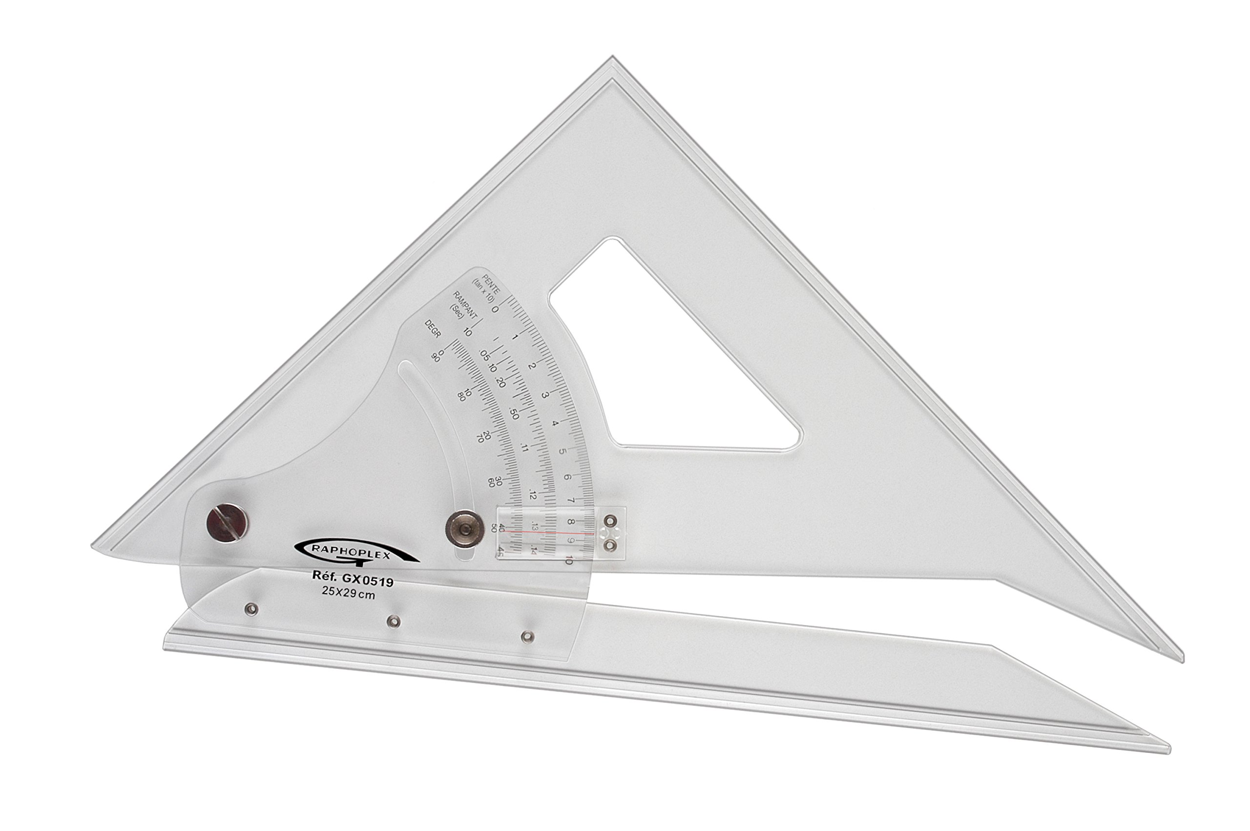Graphoplex Set Square/Protractor Adjustable from 45° to 90° bords antitaches Transparent