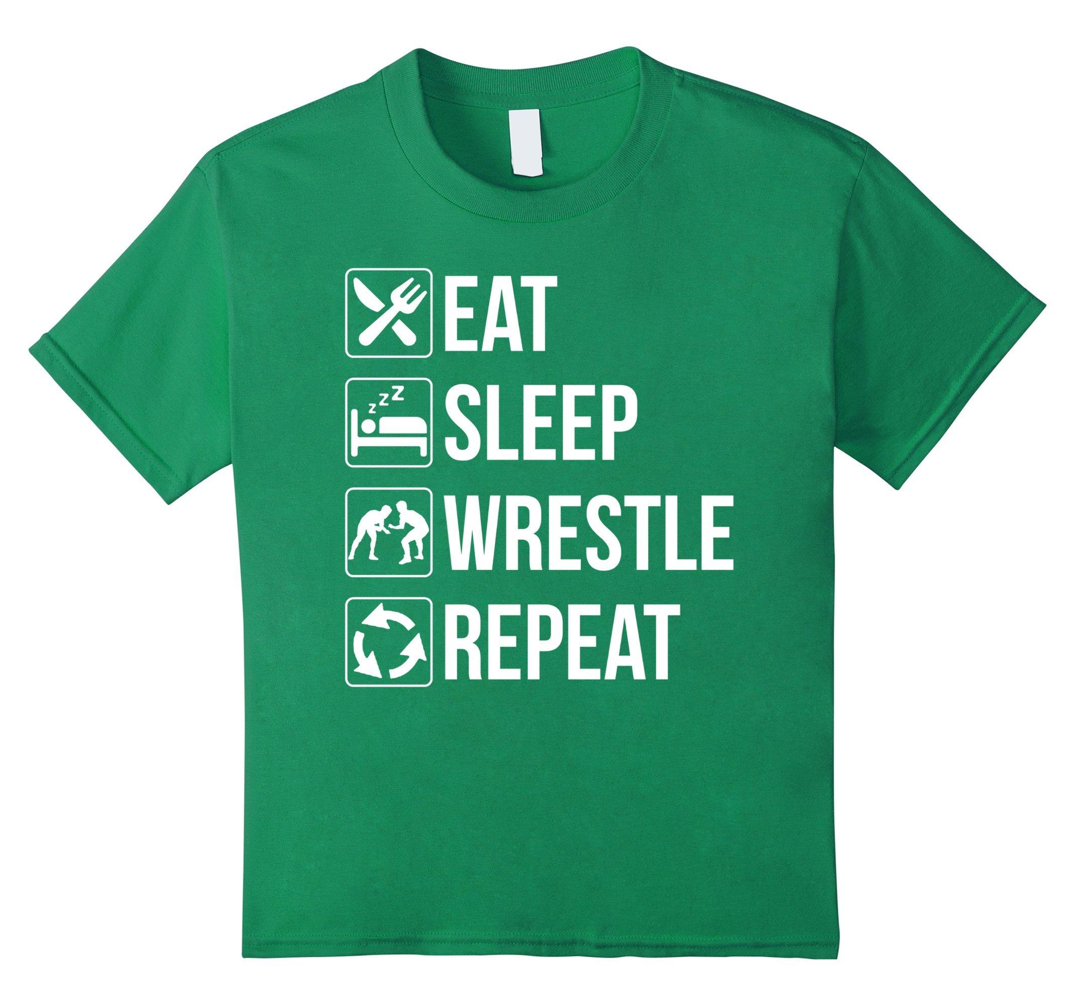 Kids Funny Eat Sleep Wrestle Repeat Wrestling TShirt 12 Kelly Green by Eat Sleep Repeat Shirt Store