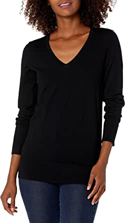 Amazon Brand - Lark & Ro Women's Long Sleeve V-Neck Sweater