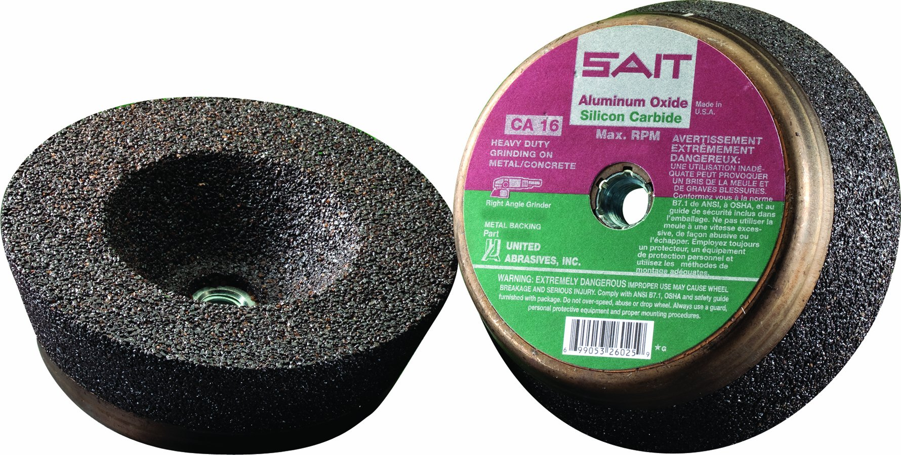 United Abrasives-SAIT 26025 6 by 2 by 5/8-11 CA16 M-B Type 11 Cup Wheel, 5-Pack by United Abrasives- SAIT (Image #1)