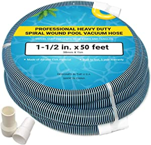 Upgraded Pool Vacuum Hose with Swivel Cuff, EVA Plastic Spiral Wound Suction Hose for Swimming Pool Manual Cleaning, Heavy Duty Flexible Garden Vac Water Hoses 1-1/2 Inch x 50 Feet