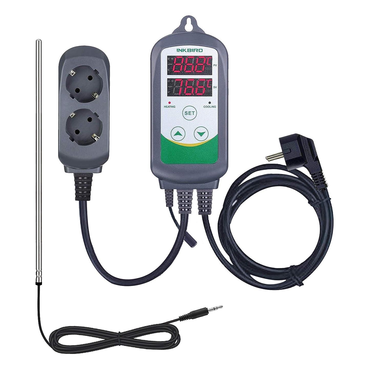 Inkbird ITC-308S Termostato Digital hay Double Relés Controlador la Temperatura de Refrigerador y Calentador para Acuarios, Cerveza Artesanal y Reptile Terrarios + 11.8