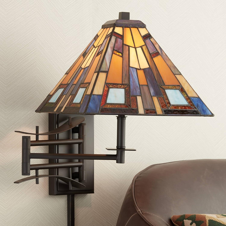 Jewel Tone Tiffany Style Plug-in Swing Arm Wall Lamp - Robert Louis Tiffany