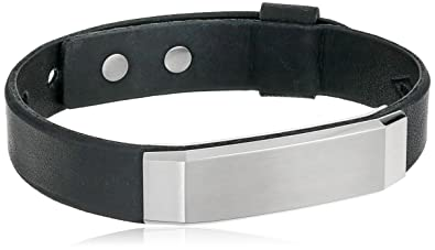 Amazon Com Fossil Stainless Steel And Leather Bracelet 9 25 Jewelry
