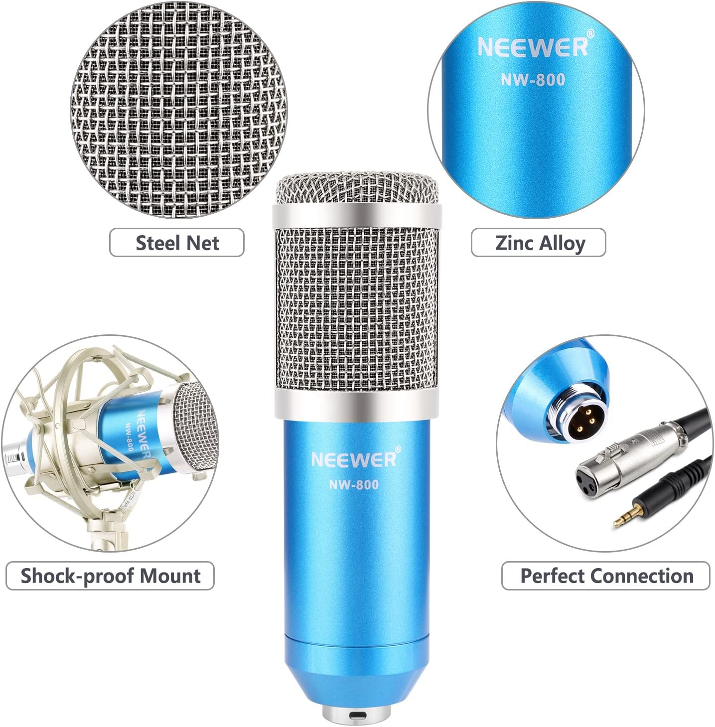 Portable Handheld Karaoke Mic with Speaker Phone Holder for Kids Adults Home Party for iPhone//Android//iPad//Sony//PC//Smartphone Neewer Wireless Bluetooth Karaoke Microphone Black+White