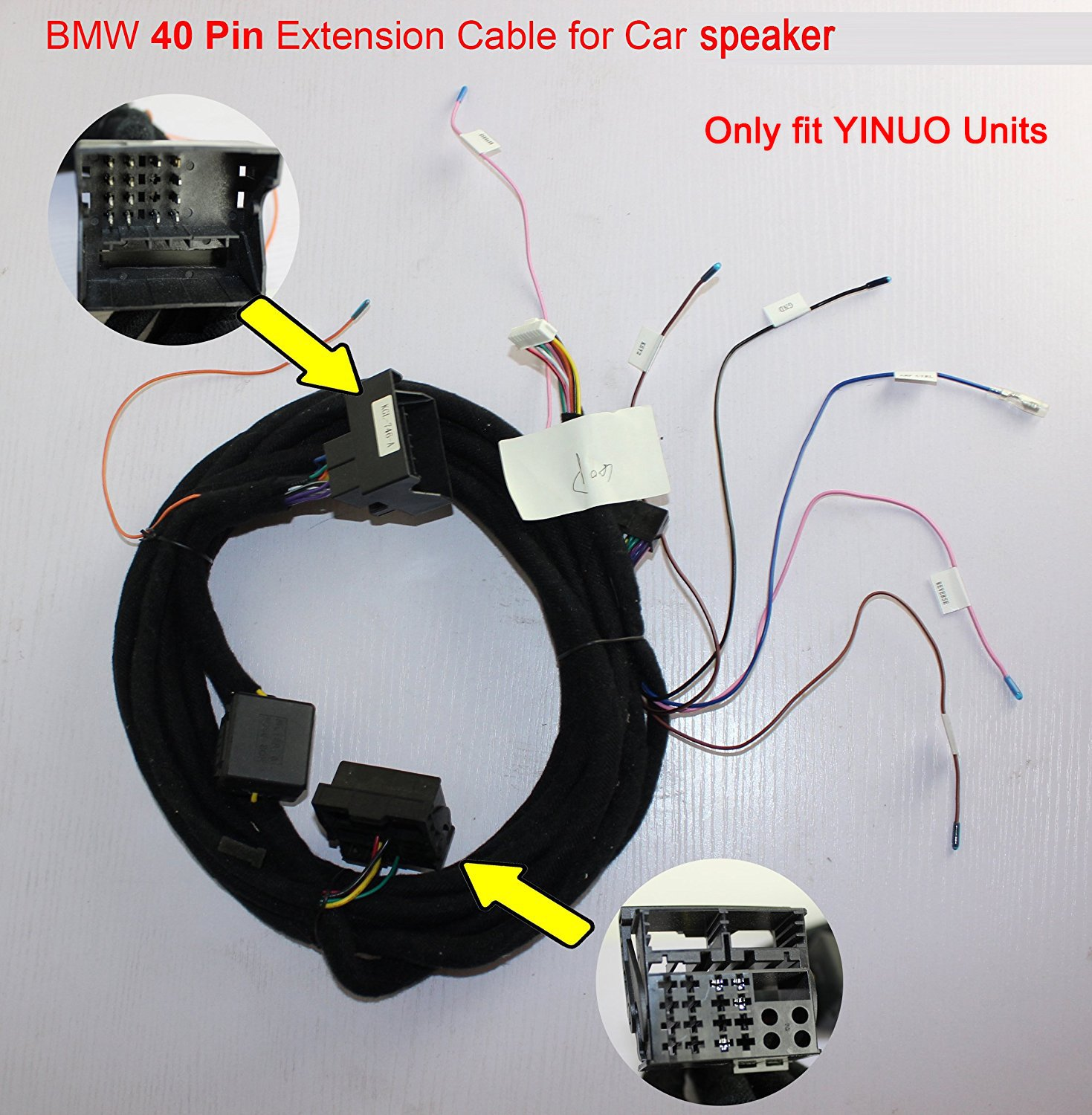Yinuo B40 6 Long Speaker Cable With 40 Pin Connector For Bmw E39 Wiring 5 Series 2002 2003 X5 E53 2007 Range Rover 2004 M5