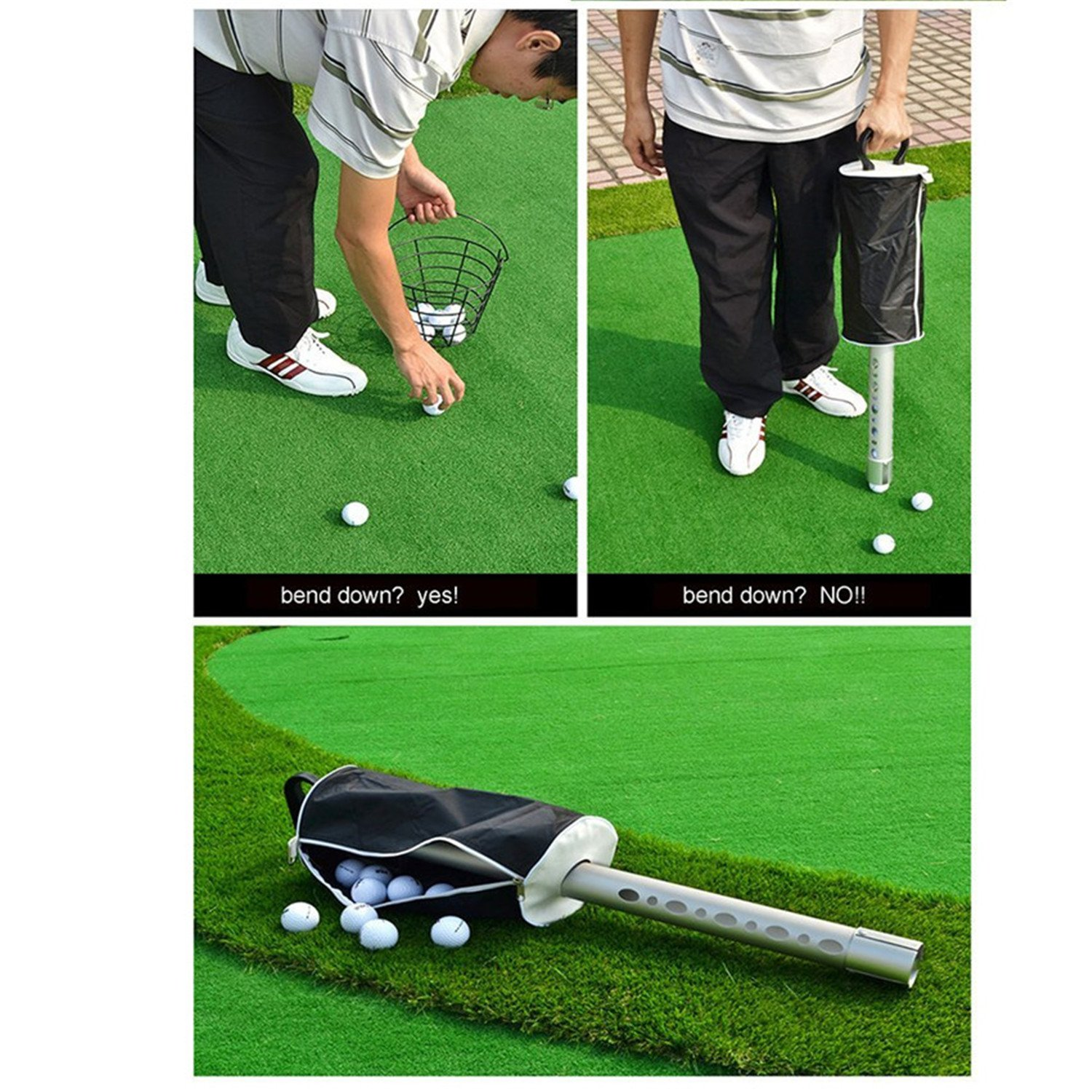 Finger Ten New Golf Ball Pick Up Shag Bag Steel Tube Retriever Portable Pocket Storage Shagger Practice Pick-up with Free Golf Ball Wipe Towel Pack Set by Finger Ten (Image #7)