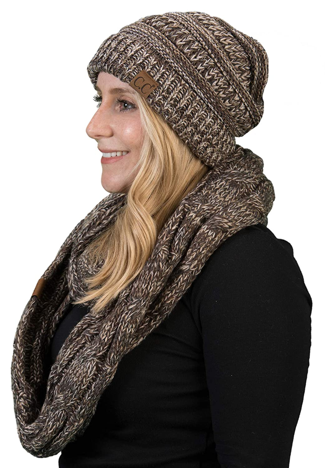 5a515608 aHS-6800-816.07 Regular Slouchy Beanie Matching Scarf Set Bundle - Brown  4#21 at Amazon Women's Clothing store: