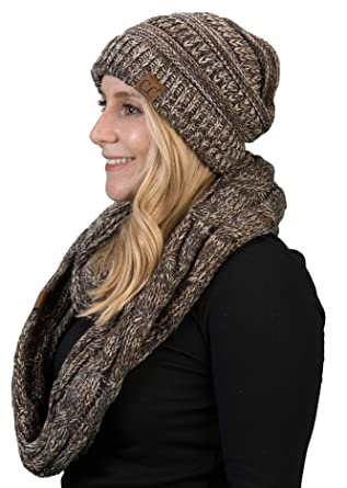 47488770779aa1 aHS-6800-816.07 Regular Slouchy Beanie Matching Scarf Set Bundle - Brown  4#21 at Amazon Women's Clothing store:
