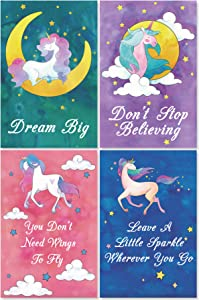 "L & O Goods Unicorn Posters for Girls Bedroom | Unicorn Room Wall Art Décor | Set of 4 Watercolor Unicorn Decorations | Cute Kids Posters for Girls | Perfect for Little Girl Bedroom Décor | 11"" x 17"""