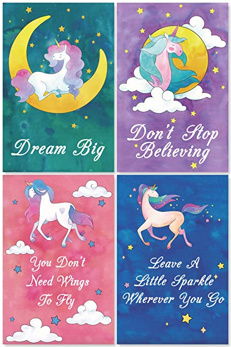 L & O Goods Unicorn Posters for Girls Bedroom | Unicorn Room Wall Décor |  Set of 4 Watercolor Unicorn Decorations | Cute Kids Posters for Girls | ...