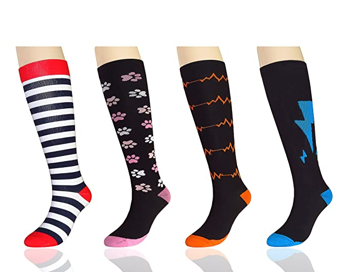 dc732da872 MYMYU Compression Socks Calf Length for Men & Women (20-25 mmHg ...
