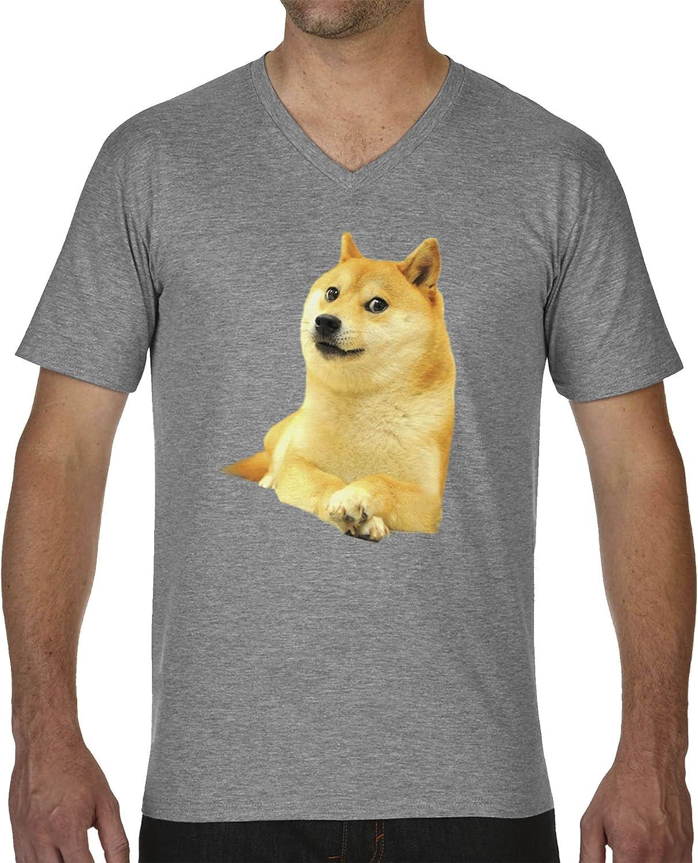 Shiba Inu Doge Fun Gris Camiseta Cuello V para Hombre X Large: Amazon.es: Ropa y accesorios