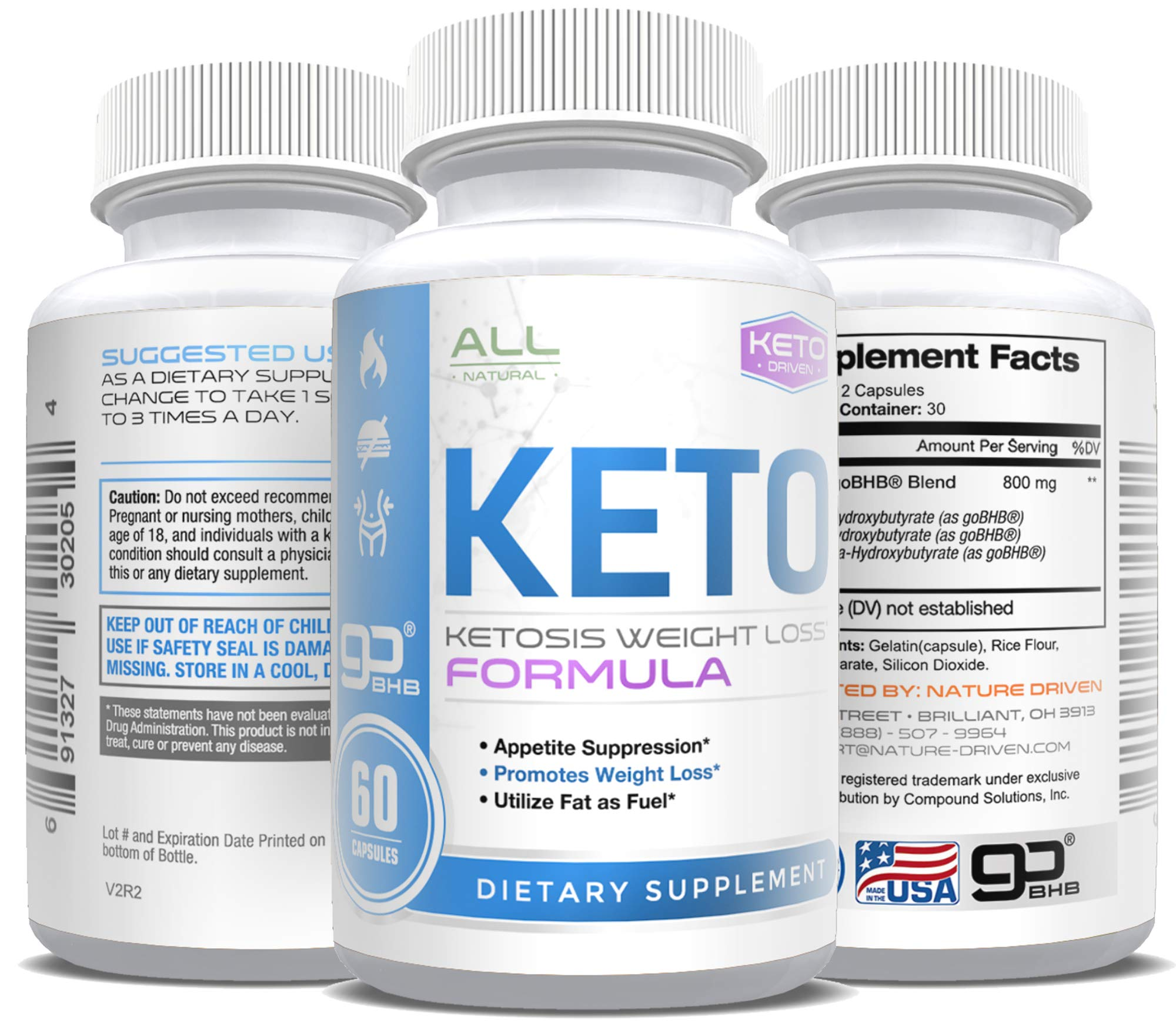 Keto Pills - Weight Loss for Men and Women - goBHB Formula - Ketosis Fat Burn - BHB Salts - Boost Energy - Burn Fat Fast - Reach Ketosis Fast - Appetite Suppressant - 30 Day Supply by Nature Driven