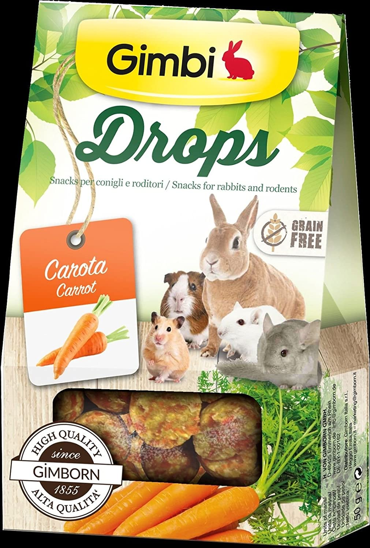 Drops con zanahoria aperitivos para roedores sin cereales 50g Gimborn