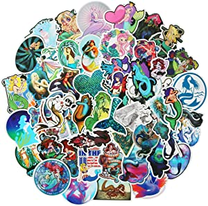 Girl Cute Mermaid Laptop Stickers Water Bottle Skateboard Motorcycle Phone Bicycle Luggage Guitar Bike Sticker Decal 50pcs Pack (Mermaid)