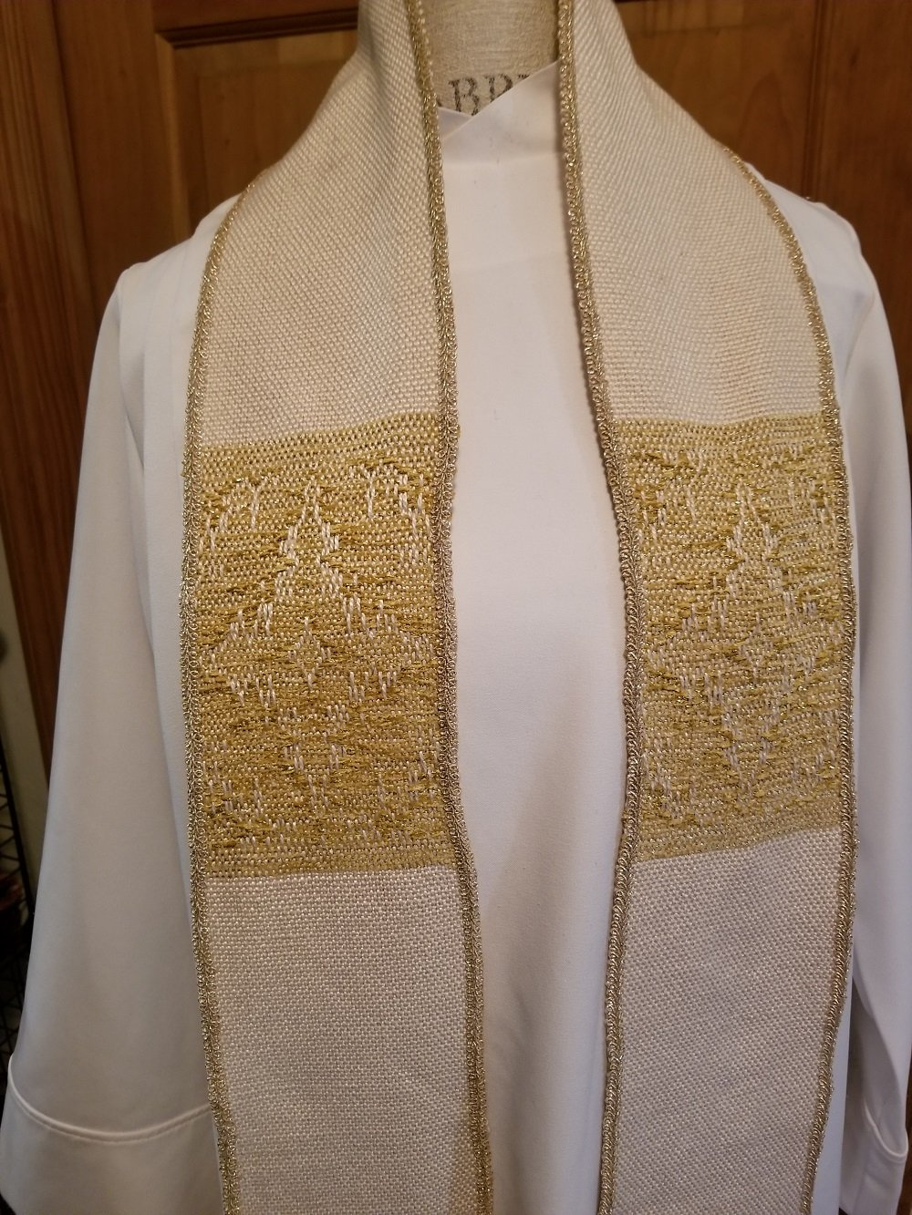 Incarnation Gold on White Clergy Stole by Ephods and Pomegranates Handwovens