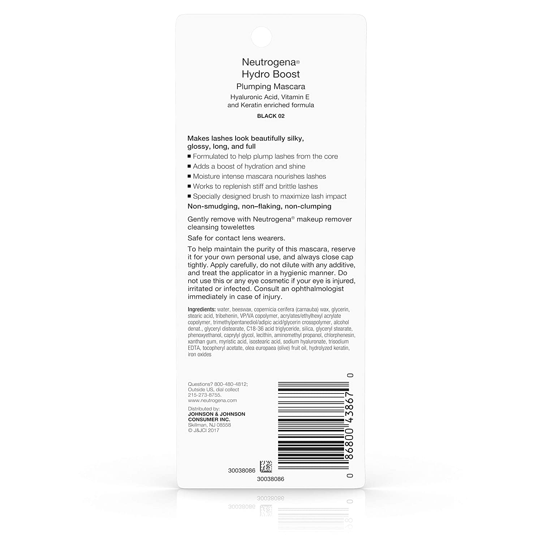 9185513c329 Amazon.com: Neutrogena Hydro Boost Plumping Mascara Enriched with  Hyaluronic Acid, Vitamin E, and Keratin, Black 02, .21 oz: Beauty