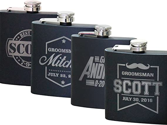 Personalized Black Matte Flask - Wedding Groomsmen Gift - Custom Engraved and Monogrammed for Free