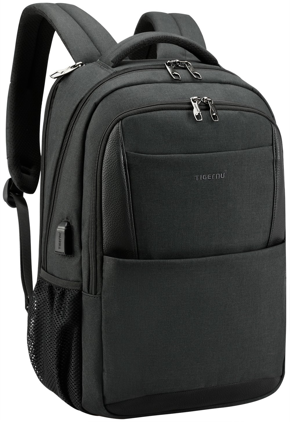 Tigernu Business Laptop Backpack,Travel Anti Theft Slim Computer Backpacks with USB Charging Port,Water Resistant Large College School Bags for Men/Women Fits Laptop & Notebook up to 15.6inch,Black by TIGERNU