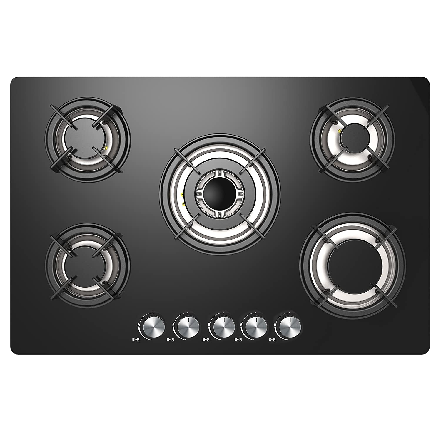 Cookology GGH770BK Gas-on-Glass Hob | 77cm Built-in 5 Burner Gas Hob in Black Glass & Round Cast-Iron Pan Supports