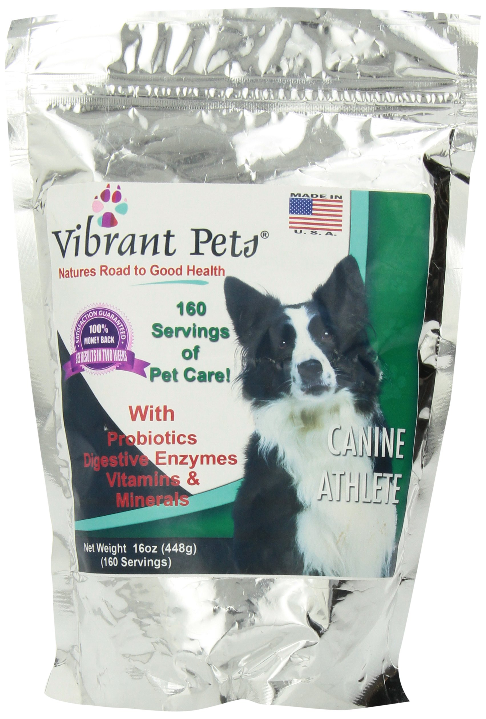 Vibrant Pets Canine Athlete | Complete Immune Booster, Dog Energy Supplement and Dog Skin Supplement for Health and Joint Support | All in One Nutrition for Active and Aged Dogs 16oz