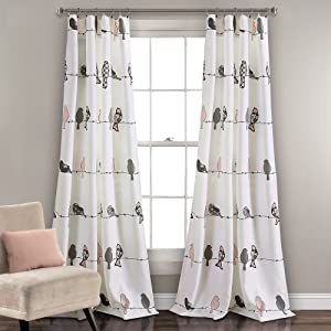 "Lush Decor Rowley Birds Curtains Room Darkening Window Panel Set for Living, Dining, Bedroom (Pair), 84"" L, Blush & Gray"