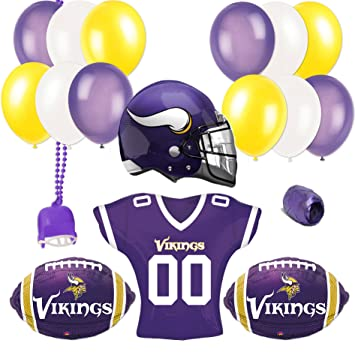 9a364a56cb7 Image Unavailable. Image not available for. Color: Minnesota Vikings  Football Super Bowl Party Helmet Jersey 18pc Balloon Pack