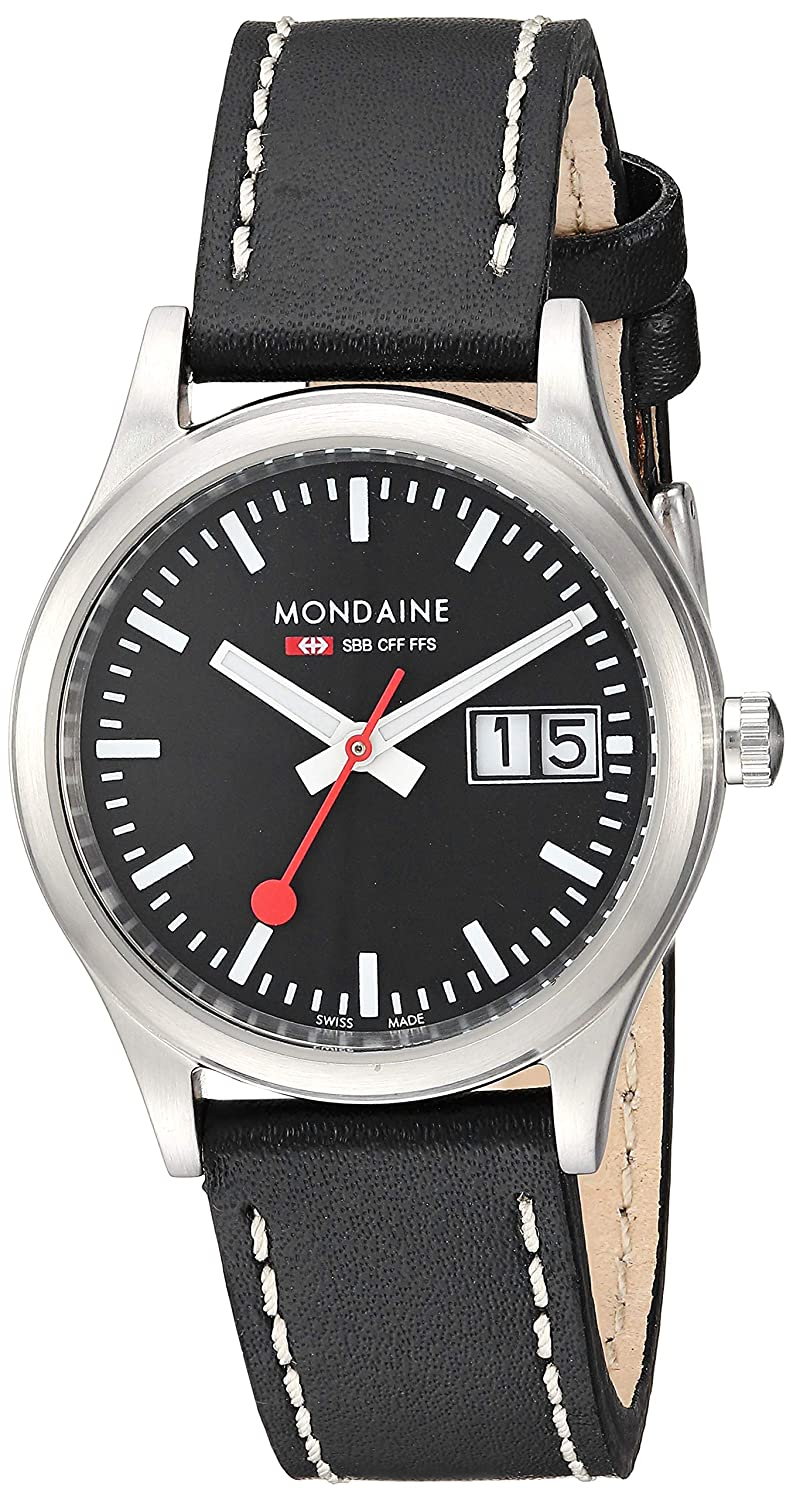 Mondaine SBB Outdoor Wrist Watch for Women A669.30311.14SBB Swiss Made, Black Leather Strap, Silver Stainless Steel Case and Black Face